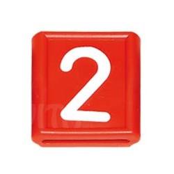 """Numer identyfikacyjny """"2"""", czerwony 48 X 59 mm"""