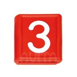 """Numer identyfikacyjny """"3"""", czerwony 48 X 59 mm"""